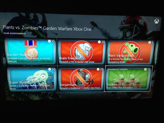 Garden Warfare achievements