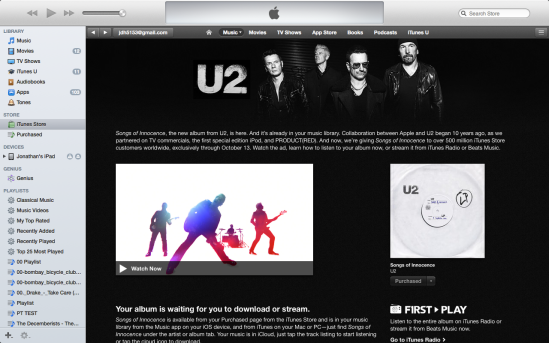 U2 songs of innocence iTunes page