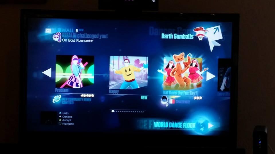 Just Dance 2015 menu