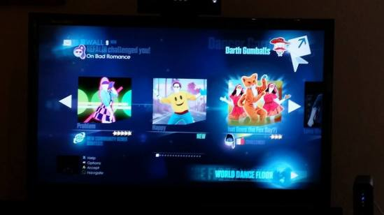 Just Dance 2015 menu