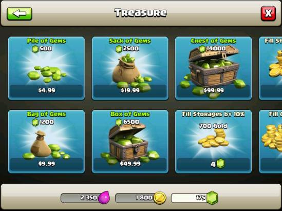 Clash of Clans treasure page