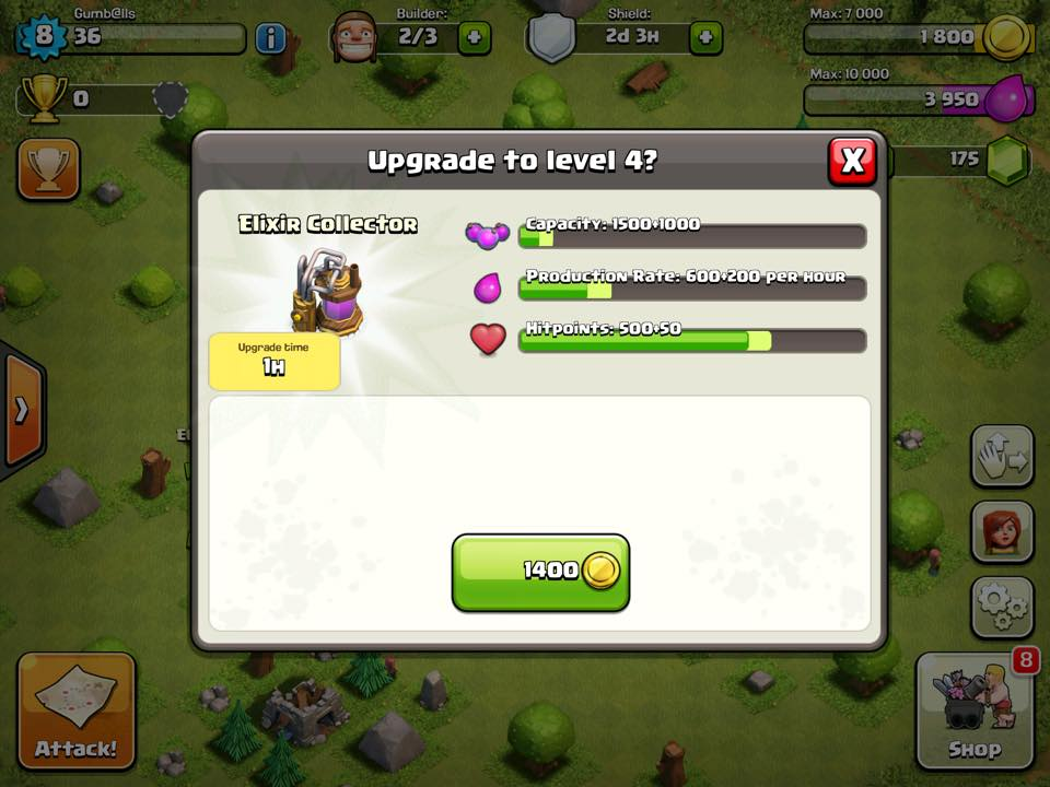 Clash of Clans Elixir collector upgrade screen