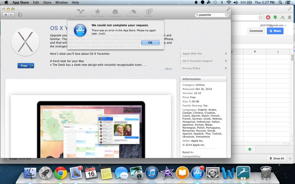 OS X Yosemite download error