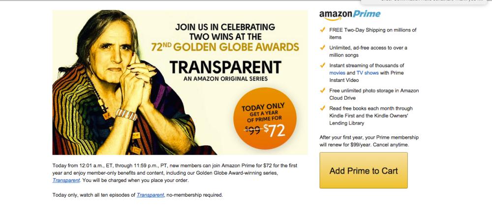 Amazon Prime $72