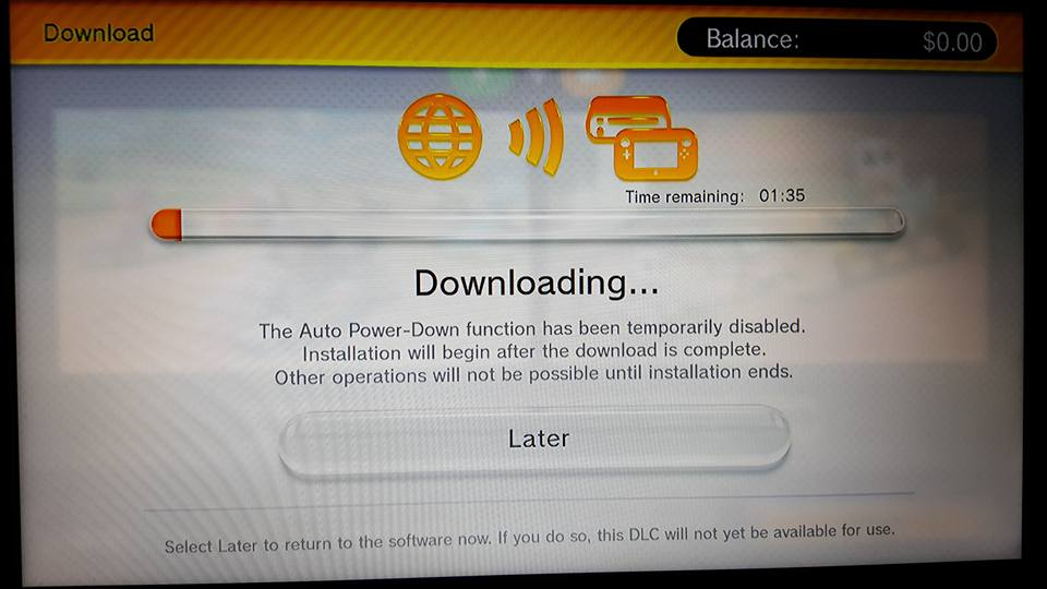 Wii U downloading screen